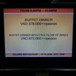 夕食バイキング(Buffet dinner)の値段は、VND 378,000++/person/ノボテルニャチャン(Novotel Nha Trang)